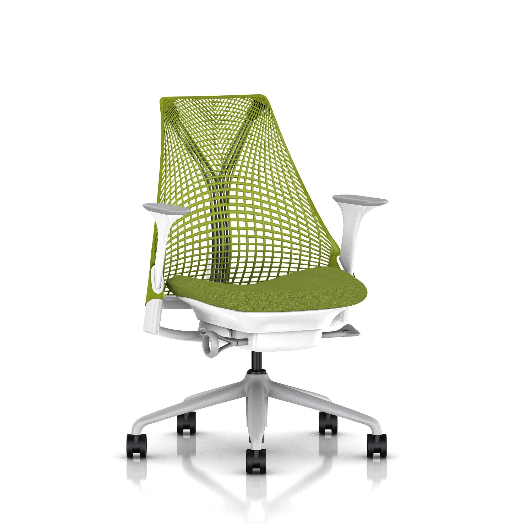 Fog Base with Studio White Y-Tower, Green Apple Back, Cosmo Avocado Fabric Seat, Fog Armpad, Tilt Limiter with Seat Angle Adjustment, Height Adjustable Arms, Adjustable Seat Depth, Non-Adjustable Back Support, 2.5-inch Standard Carpet Casters