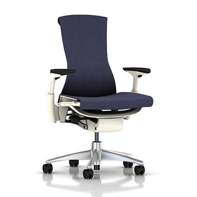 Titanium Base - Adjustable Arms - White Frame - 2.5-inch Standard Carpet Casters - Acai Berry Mercer Fabric Seat and Back