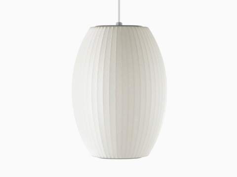 A white hanging lamp—the Nelson Cigar Bubble Pendant.