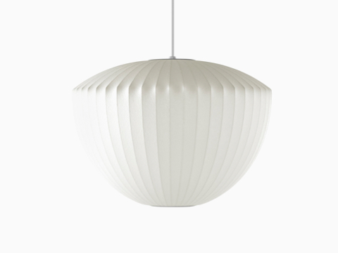 A white hanging lamp—the Nelson Apple Bubble Pendant.