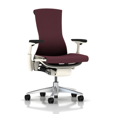 Titanium Base - Adjustable Arms - White Frame - 2.5-inch Standard Carpet Casters - Mulberry Rhythm Fabric Seat and Back