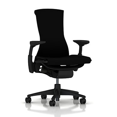 Graphite Base - Adjustable Arms - Graphite Frame - 2.5-inch Standard Carpet Casters - Black Rhythm Fabric Seat and Back