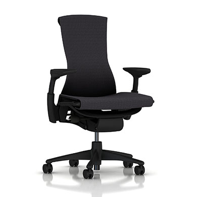 Graphite Base - Adjustable Arms - Graphite Frame - 2.5-inch Standard Carpet Casters - Carbon Balance Fabric Seat and Back