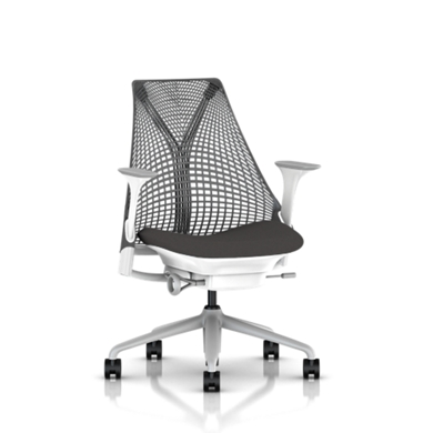 Fog Base with Studio White Y-Tower, Slate Grey Back, Cosmo Granite Fabric Seat, Fog Armpad, Tilt Limiter with Seat Angle Adjustment, Height Adjustable Arms, Adjustable Seat Depth, Non-Adjustable Back Support, 2.5-inch Standard Carpet Casters