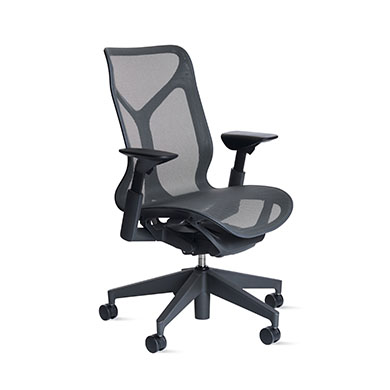 Mid-Back Cosm Chair, Adjustable Arms, Carbon