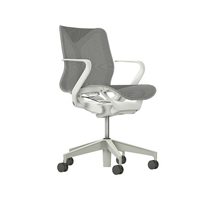 Low-Back Cosm Chair, Fixed Arms, Mineral