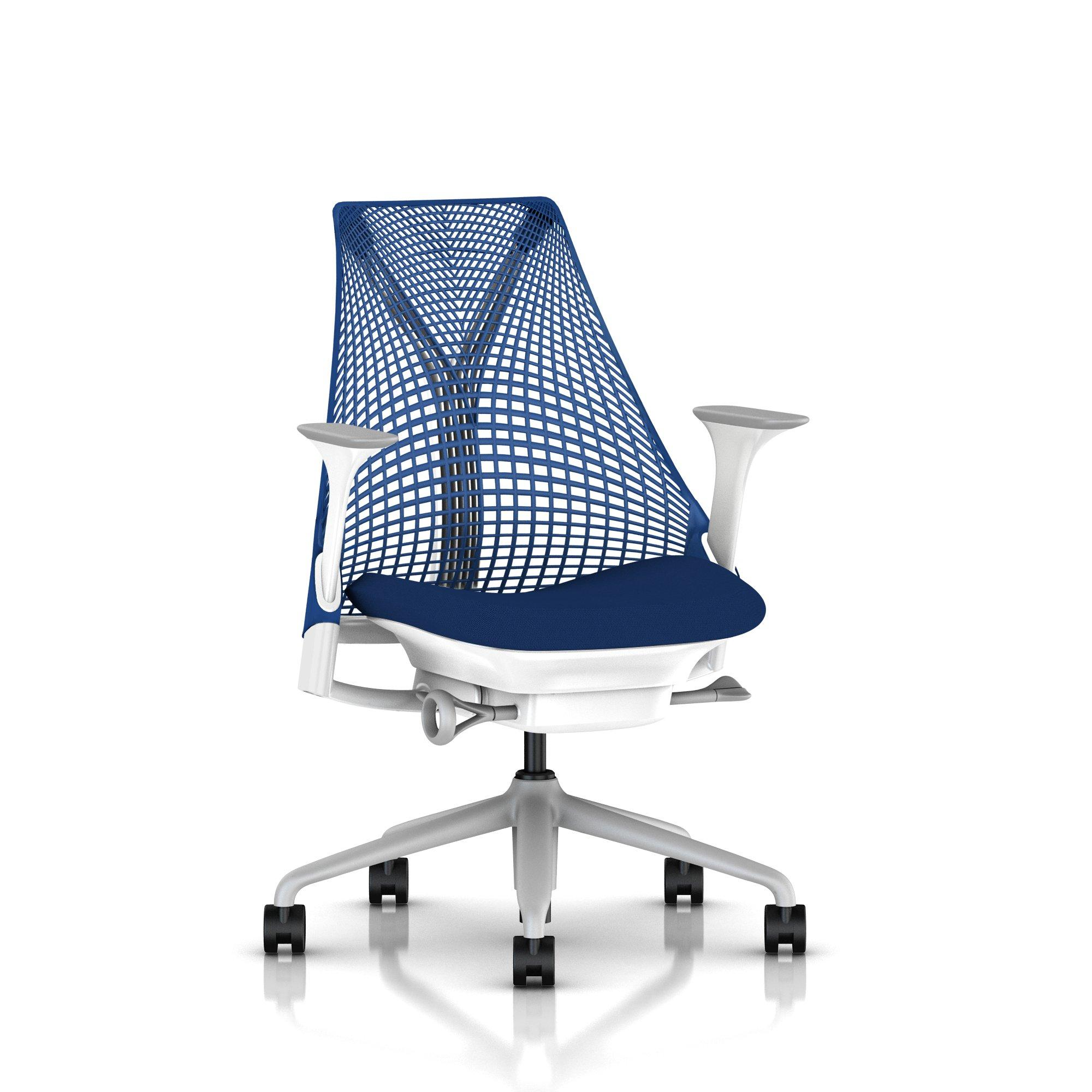 Fog Base with Studio White Y-Tower, Berry Blue Back, Cosmo Pool Fabric Seat, Fog Armpad, Tilt Limiter with Seat Angle Adjustment, Height Adjustable Arms, Adjustable Seat Depth, Non-Adjustable Back Support, 2.5-inch Standard Carpet Casters