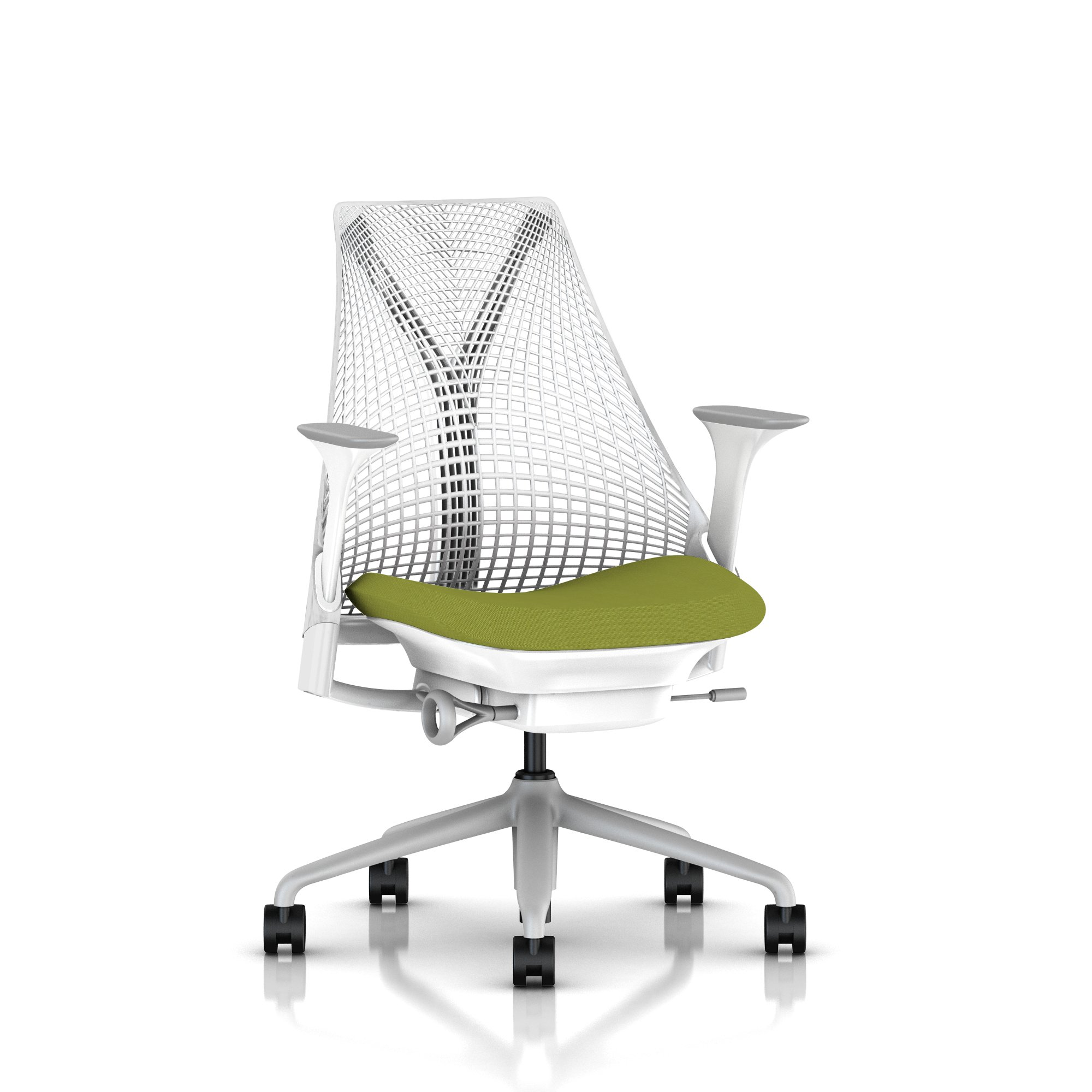 Avocado Sayl-Fog base / White frame and Y tower Studio White Back Cosmo Avocado Fabric Seat Fog Armpad Tilt Limiter with Seat Angle Adjustment Height Adjustable Arms Adjustable Seat Depth Non-Adjustable Back Support 2.5-inch Standard Carpet Casters