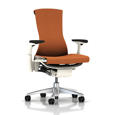 Titanium Base - Adjustable Arms - White Frame - 2.5-inch Standard Carpet Casters - Cayenne Mercer Fabric Seat and Back