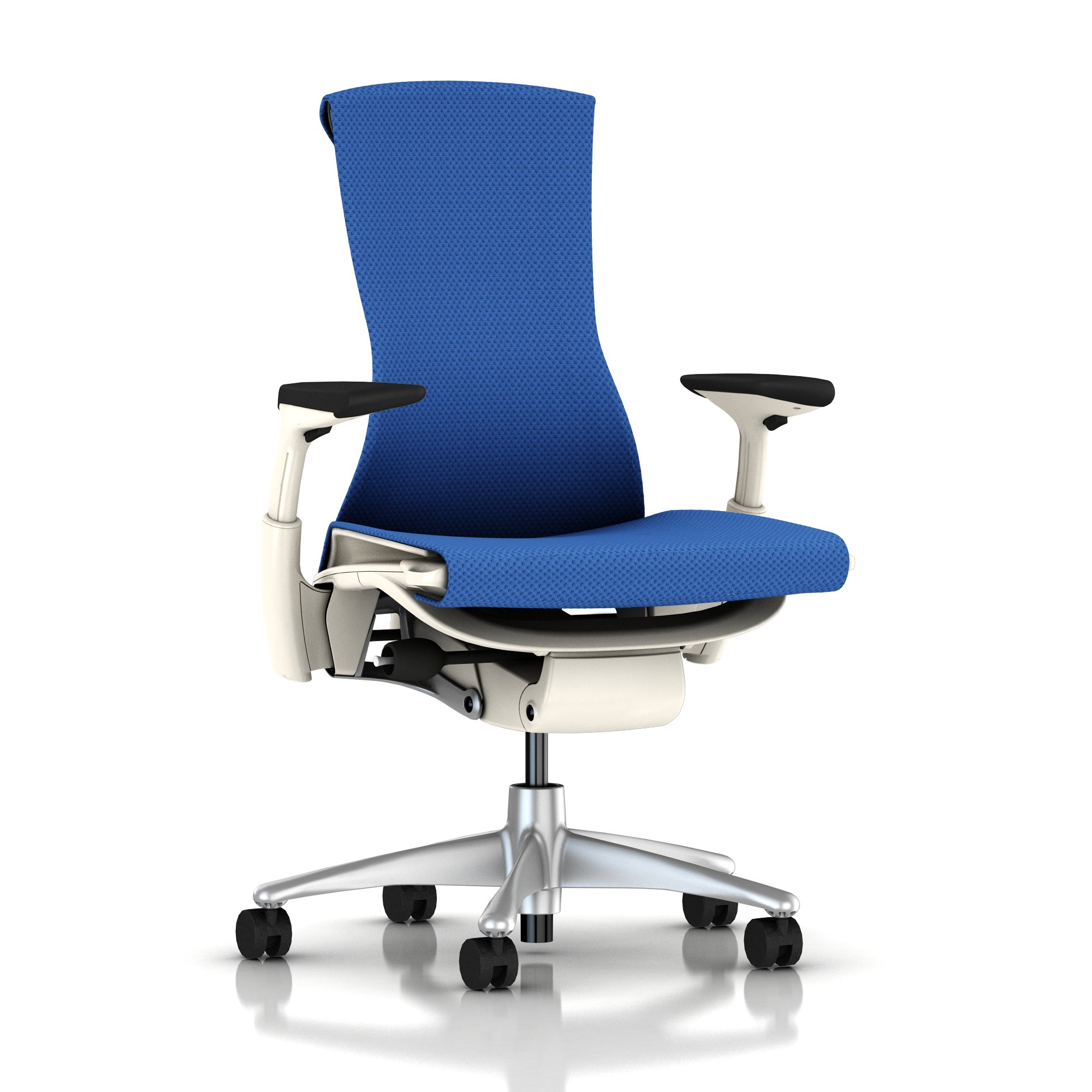 Titanium Base - Adjustable Arms - White Frame - 2.5-inch Standard Carpet Casters - Berry Blue Balance Fabric Seat and Back