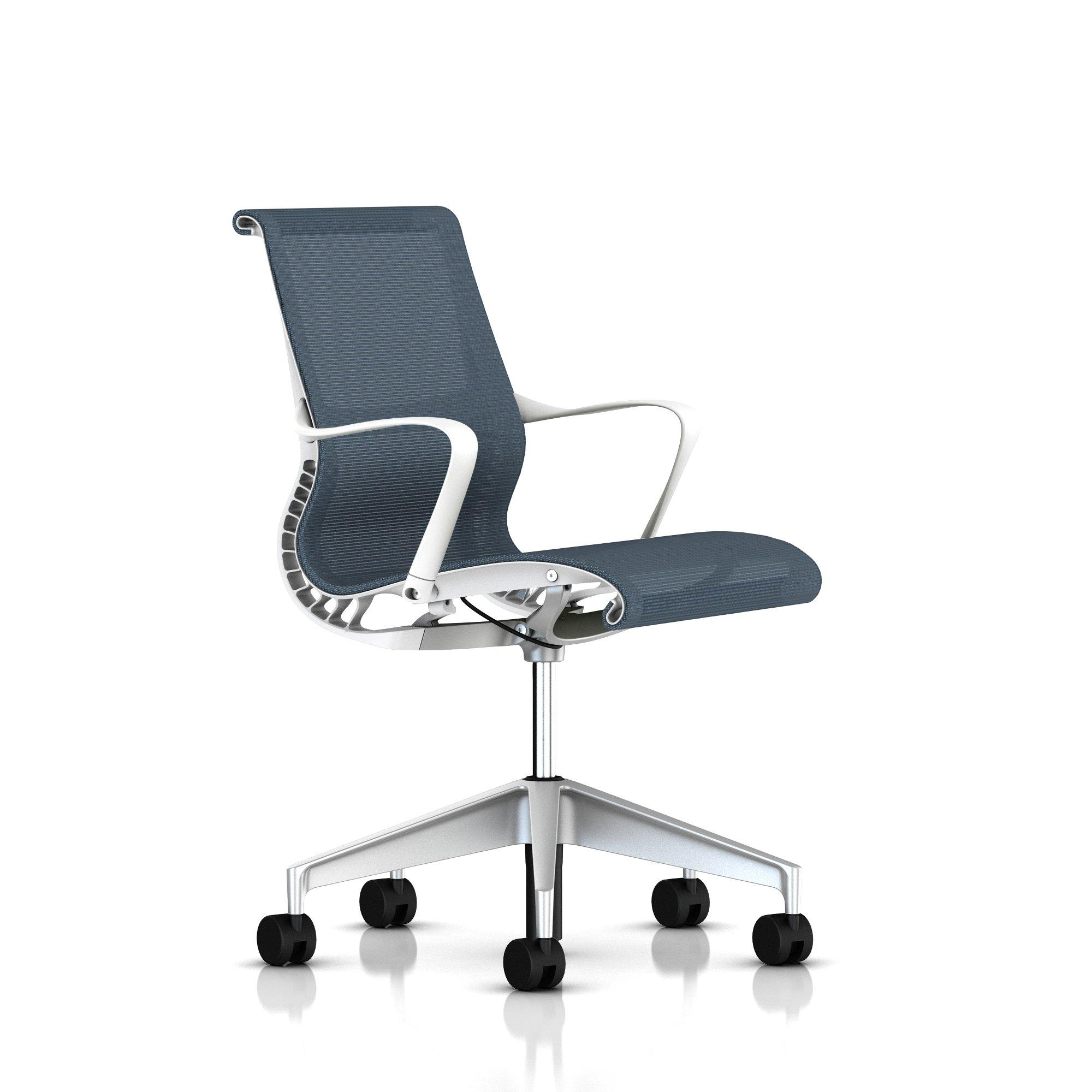 Studio White Frame - Silver alloy Base - Ribbon Arms - Hard Floor or Carpet Casters - None - Berry Blue Lyris 2 Fabric Seat and Back
