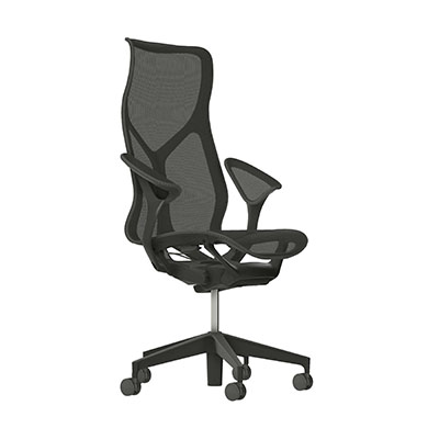 High-Back Cosm Chair, Leaf Arms, Carbon