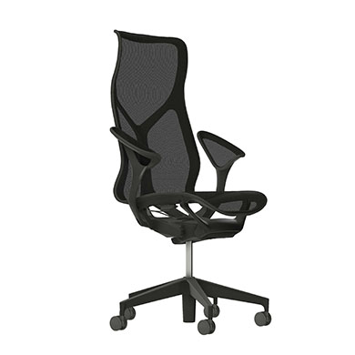 High-Back Cosm Chair, Leaf Arms, Graphite