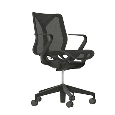 Low-Back Cosm Chair, Fixed Arms, Carbon