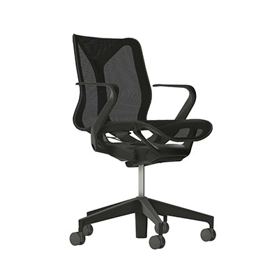 Low-Back Cosm Chair, Fixed Arms, Graphite