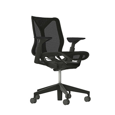 Low-Back Cosm Chair, Adjustable Arms, Graphite