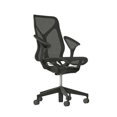 Mid-Back Cosm Chair, Leaf Arms, Carbon