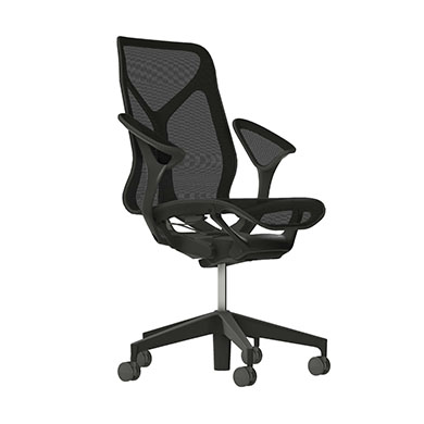 Mid-Back Cosm Chair, Leaf Arms, Graphite