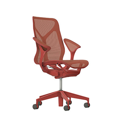 Mid-Back Cosm Chair, Leaf Arms, Dipped in Color-Canyon