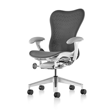 Tilt Limiter with Seat Angle Adjustment - Adj. Arms - Fog Armpad Finish - Adj. Seat Depth - Slate Grey Butterfly Suspension Back - Adj. Lumbar Support - Fog Base With Studio White Frame - 2.5-inch Standard Carpet Casters - Slate Grey AireWeave 2 Suspensi