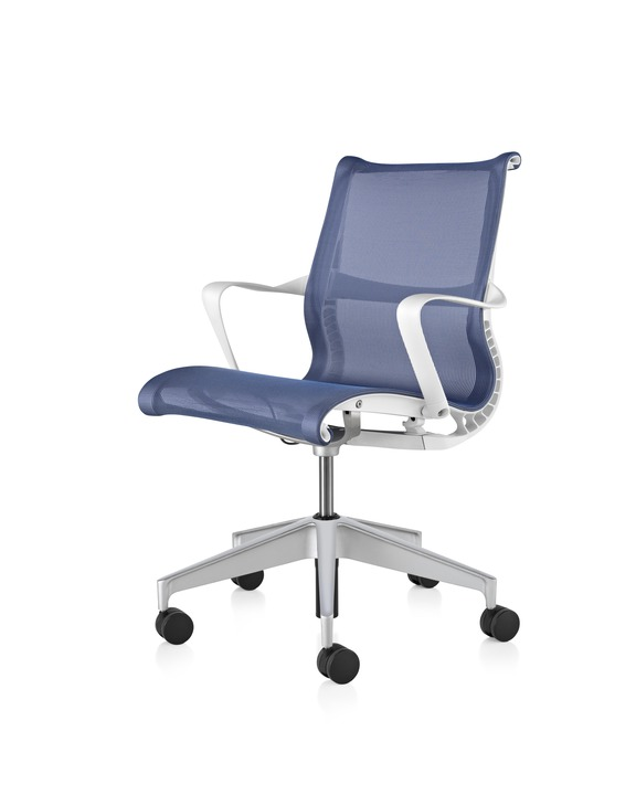Studio White Frame - H-alloy Base - Ribbon Arms - Hard Floor or Carpet Casters - None - Berry Blue Lyris 2 Fabric Seat and Back