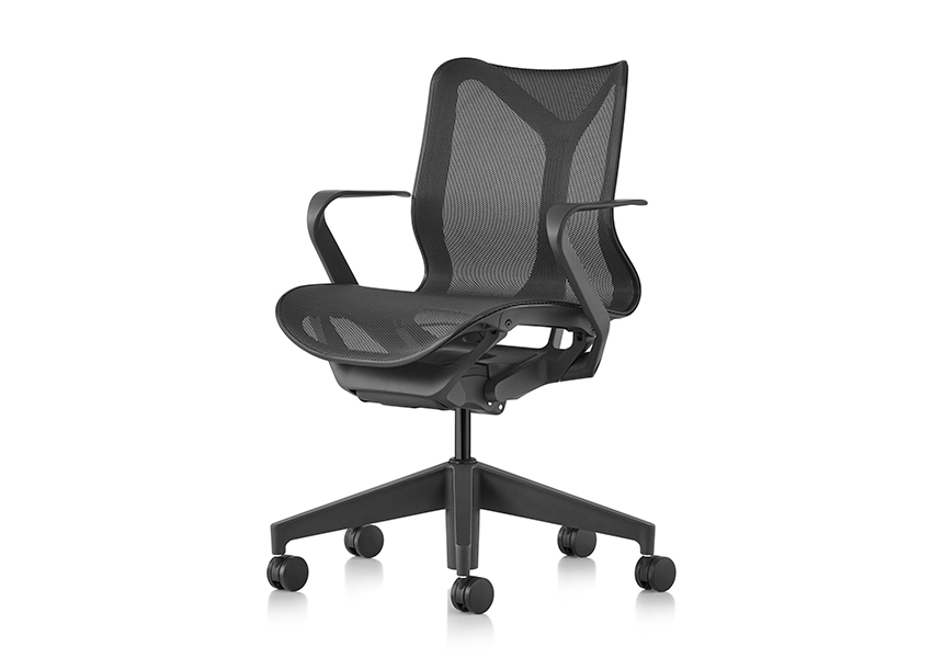 Low-Back Cosm Chair, Fixed Arms, Graphite - Item5