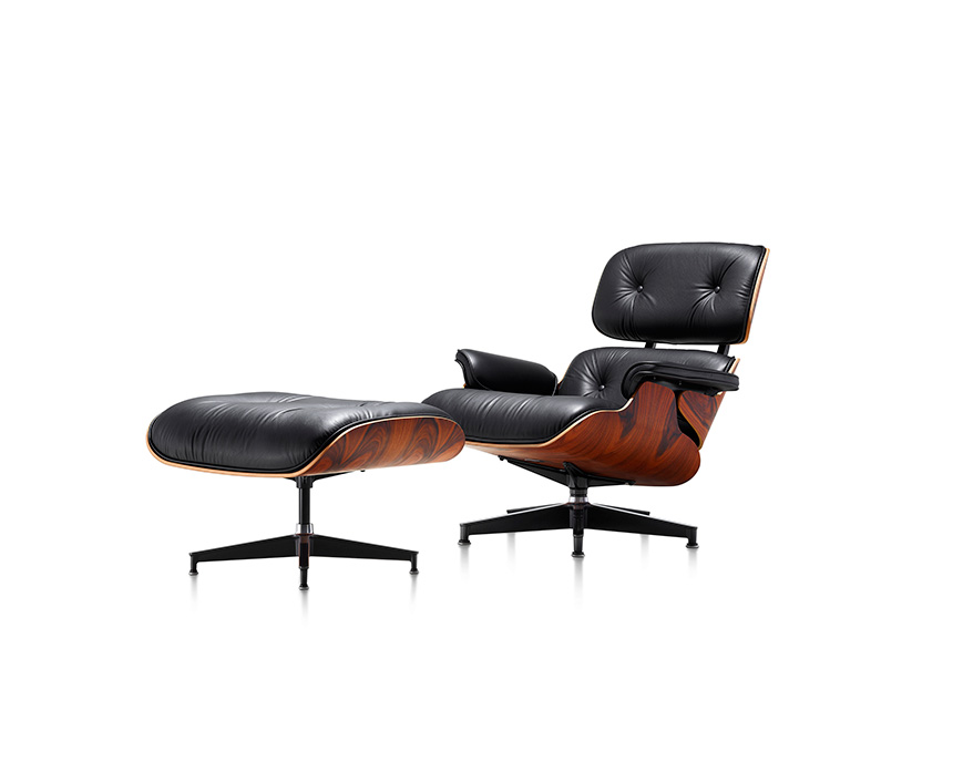 Eames Lounge Chair and Ottoman (Walnut Veneer - Black Leather) - In-stock: Less - Item2