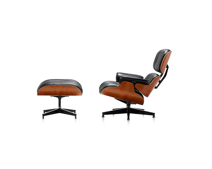 Eames Lounge Chair and Ottoman (Walnut Veneer - Black Leather) - In-stock: Less - Item3