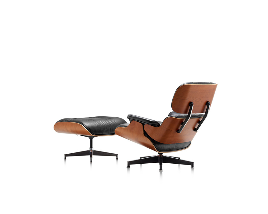 Eames Lounge Chair and Ottoman (Walnut Veneer - Black Leather) - In-stock: Less - Item4