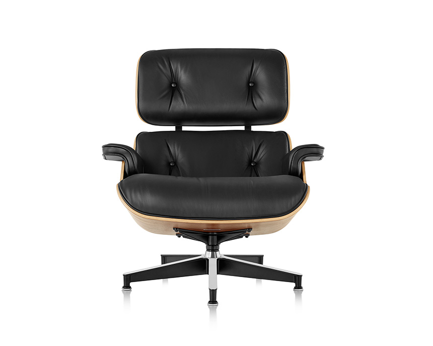 Eames Lounge Chair and Ottoman (Walnut Veneer - Black Leather) - In-stock: Less - Item5