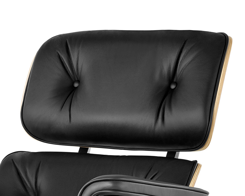 Eames Lounge Chair and Ottoman (Walnut Veneer - Black Leather) - In-stock: Less - Item8