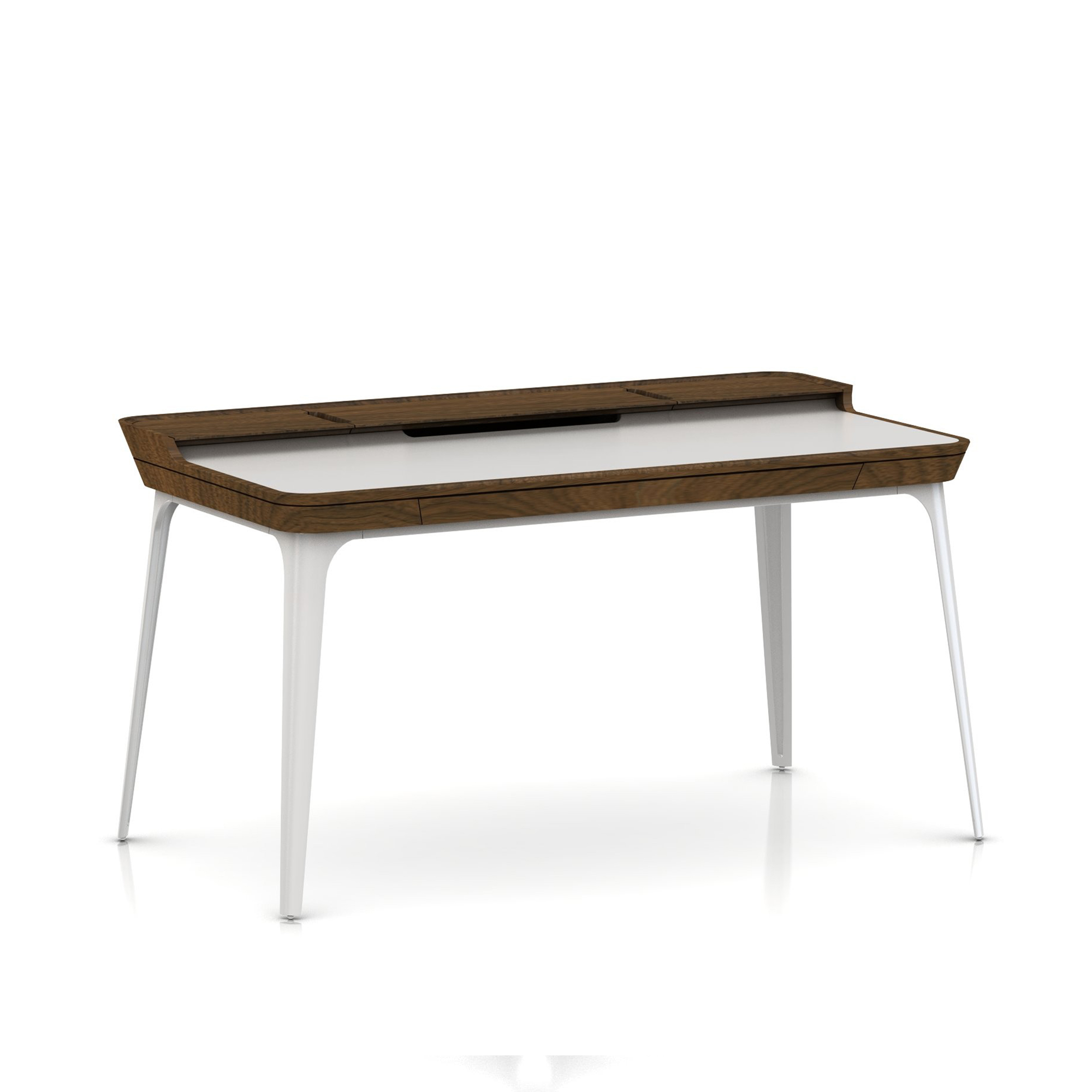 Airia Desk (Walnut Top Frame - White Laminate)