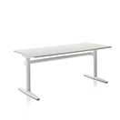 Atlas - Worktop Finish White 91 - Leg Finish White 91 - Size: W1500 x D700 x H650 - H1250 mm, Vertical Cable Management Only (No Tray)