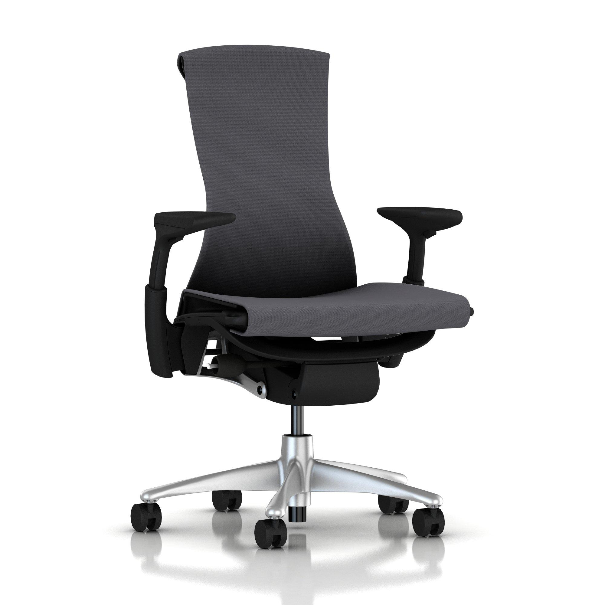 Titanium Base - Adjustable Arms - Graphite Frame - 2.5-inch Standard Carpet Casters - Charcoal Rhythm Fabric Seat and Back