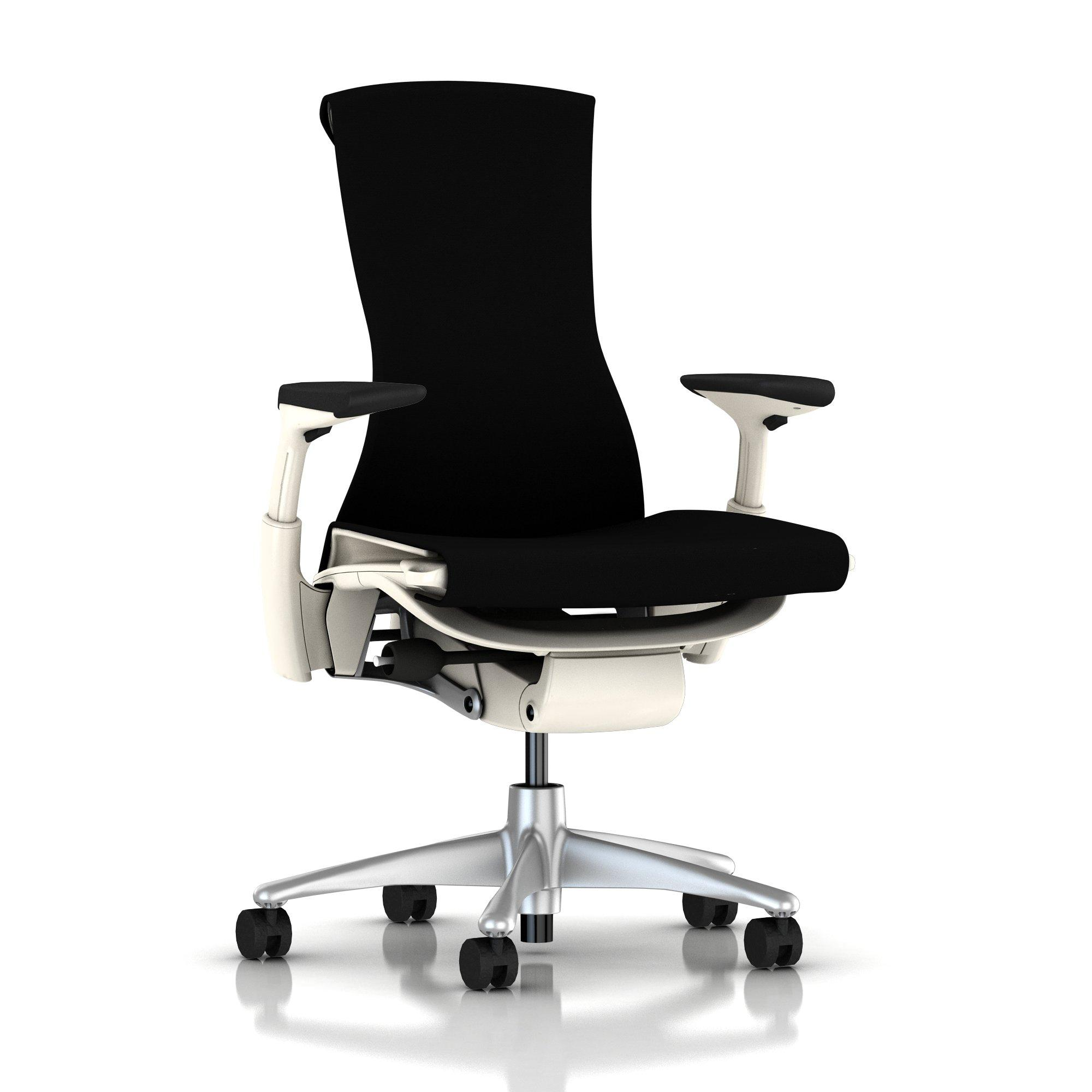 Titanium Base - Adjustable Arms - White Frame - 2.5-inch Standard Carpet Casters - Black Rhythm Fabric Seat and Back