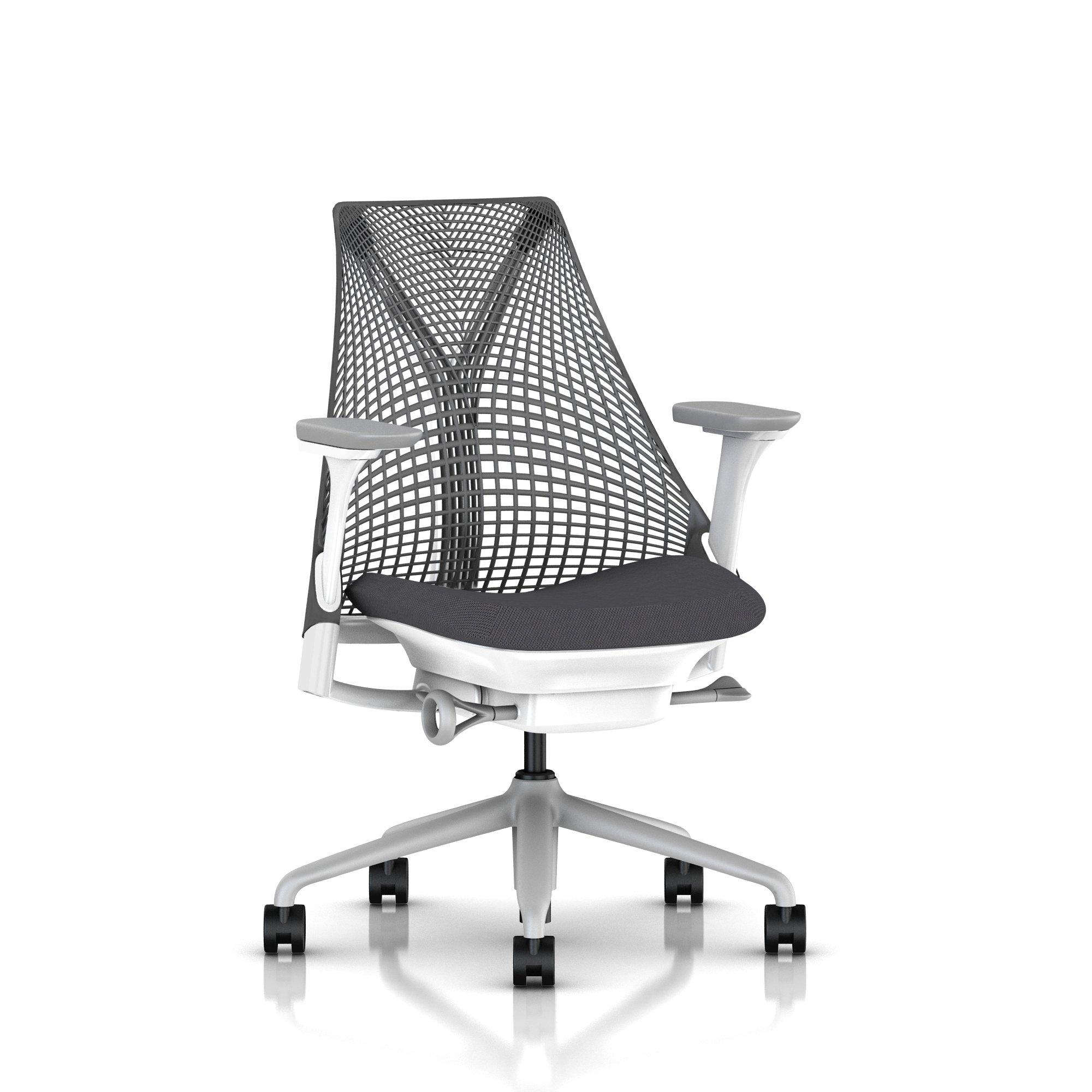Fog Base with Studio White Y-Tower, Slate Grey Back, Cosmo Granite Fabric Seat, Fog Armpad, Tilt Limiter with Seat Angle Adjustment, Fully Adjustable Arms, Adjustable Seat Depth, Non-Adjustable Back Support, 2.5-inch Standard Carpet Casters