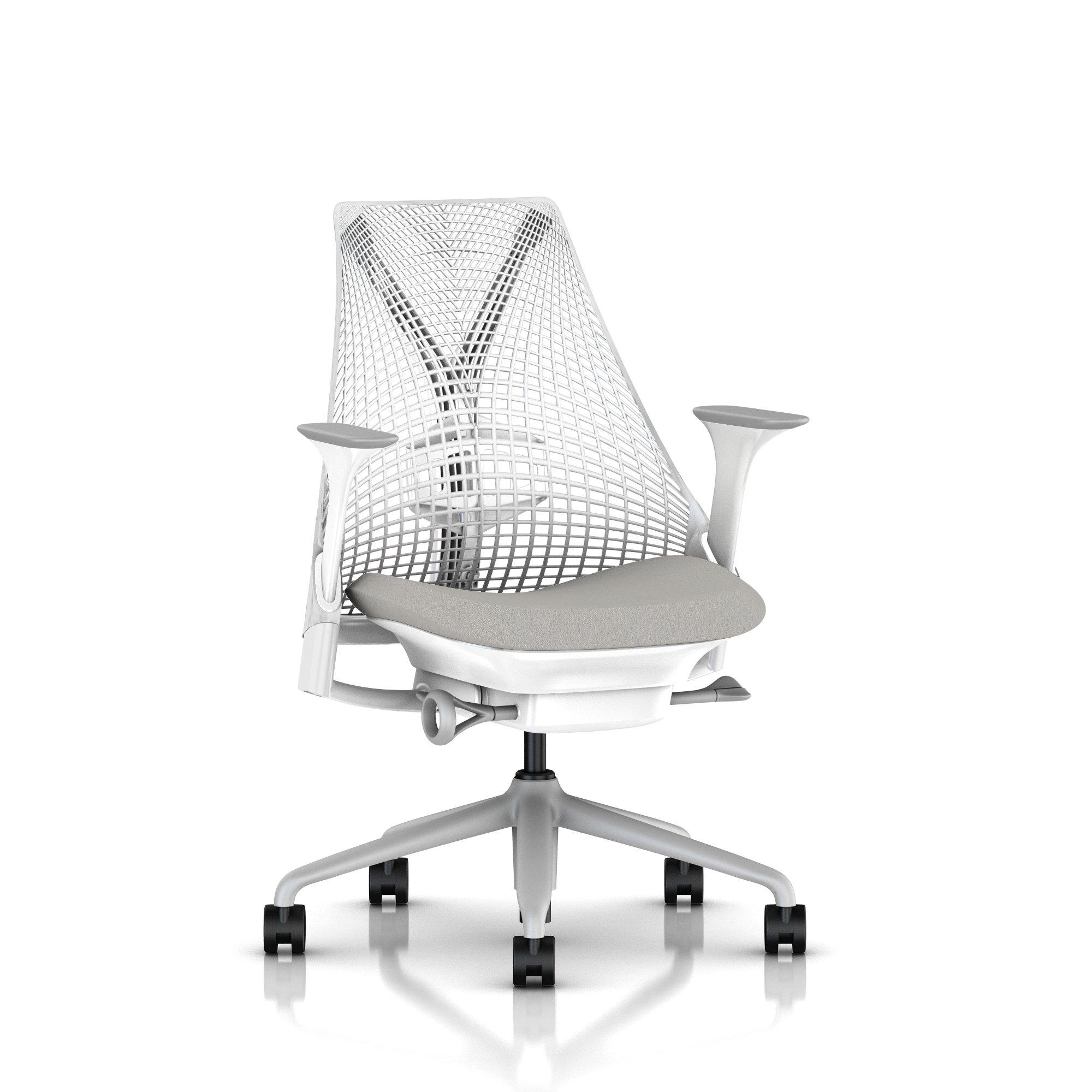 Fog Base with Studio White Y-Tower, Studio White Back, Cosmo Moonshadow Fabric Seat, Fog Armpad, Tilt Limiter with Seat Angle Adjustment, Height Adjustable Arms, Adjustable Seat Depth, Adjustable Back Support, 2.5-inch Standard Carpet Casters