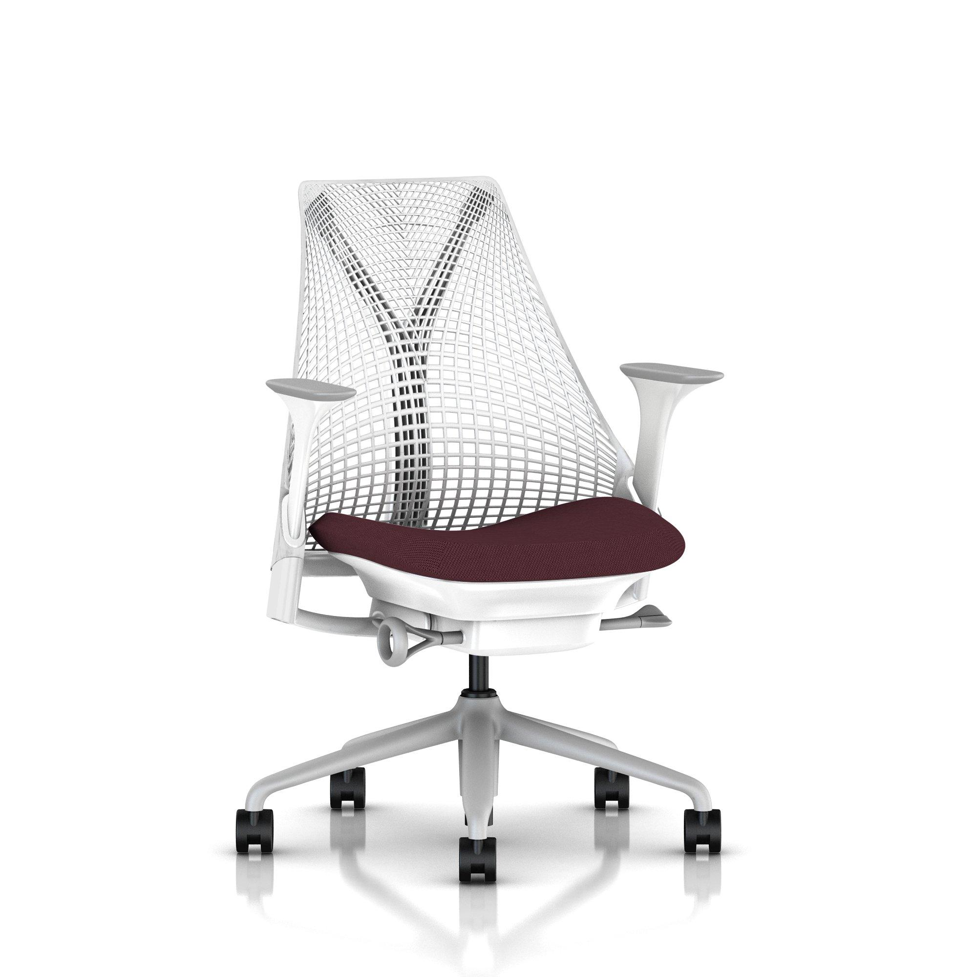 Fog Base with Studio White Y-Tower, Studio White Back, Cosmo Quince Fabric Seat, Fog Armpad, Tilt Limiter with Seat Angle Adjustment, Height Adjustable Arms, Adjustable Seat Depth, Non-Adjustable Back Support, 2.5-inch Standard Carpet Casters