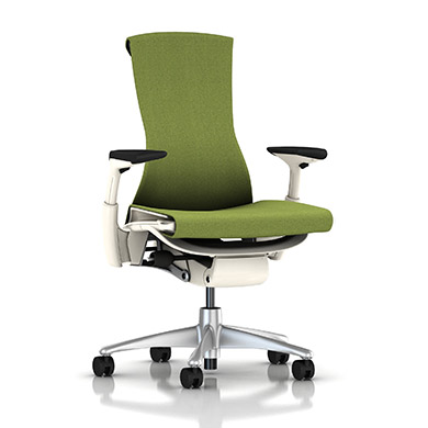 Titanium Base - Adjustable Arms - White Frame - 2.5-inch Standard Carpet Casters - Pesto Mercer Fabric Seat and Back