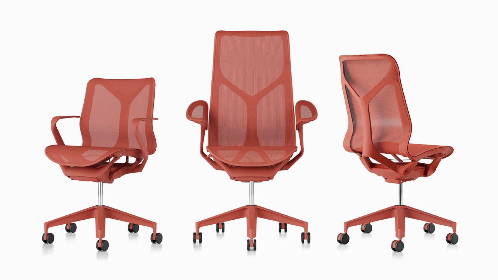 Low-back, high-back, and mid-back Cosm ergonomic desk chairs with suspension materials, bases, and frames in Canyon red.