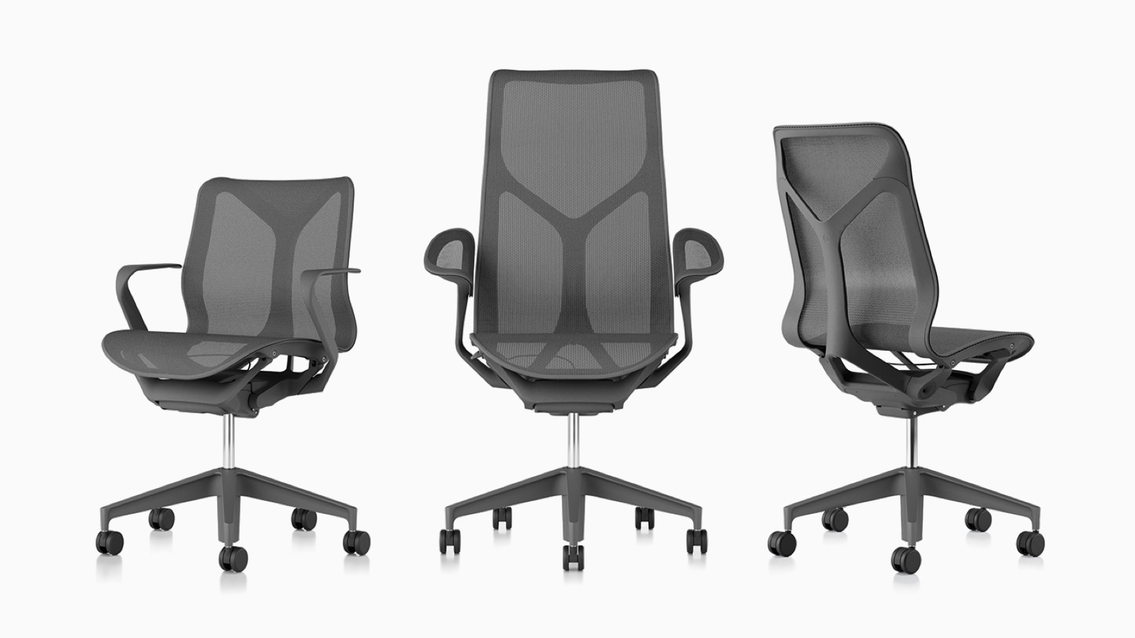 Low-back, high-back, and mid-back Cosm ergonomic desk chairs with suspension materials, bases, and frames in Carbon grey.