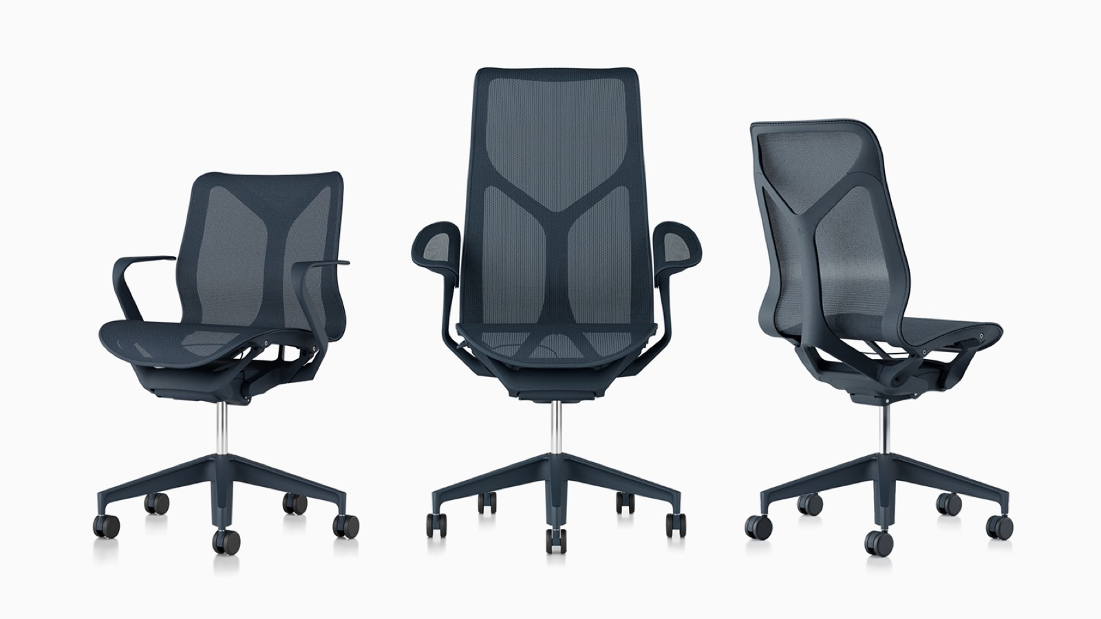 Low-back, high-back, and mid-back Cosm ergonomic desk chairs with suspension materials, bases, and frames in Nightfall navy blue.