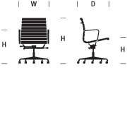 Eames Aluminum Group Management Chair, Pneumatic Lift with Casters and Arms