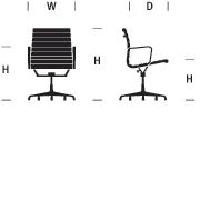 Eames Aluminum Group Management Chair, Manual Lift with Glides and Arms