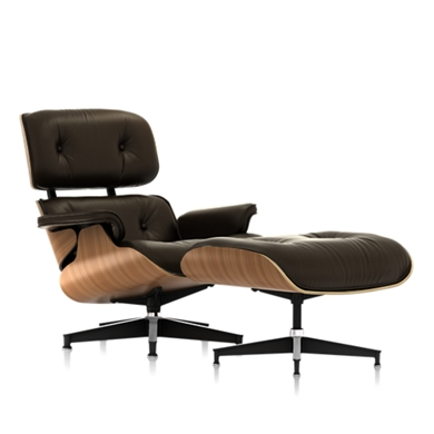 Eames Lounge Chair and Ottoman (Walnut Veneer - Black Leather) - In-stock: Less