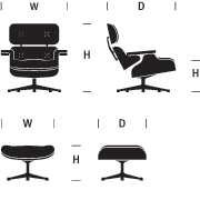 Eames Lounge Chair Dimensions Graphic