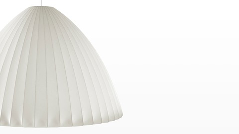 Close view of a bell-shaped hanging lamp—the Nelson Bell Bubble Pendant.