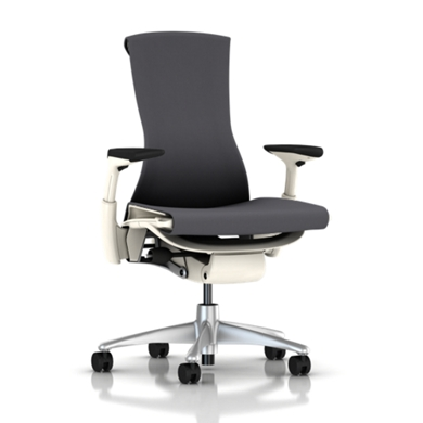 Titanium Base - Adjustable Arms - White Frame - 2.5-inch Standard Carpet Casters - Charcoal Rhythm Fabric Seat and Back