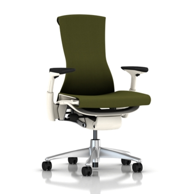 Titanium Base - Adjustable Arms - White Frame - 2.5-inch Standard Carpet Casters - Green Apple Rhythm Fabric Seat and Back