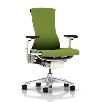 Titanium Base - Adjustable Arms - White Frame - 2.5-inch Standard Carpet Casters - Green Apple Balance Fabric Seat and Back